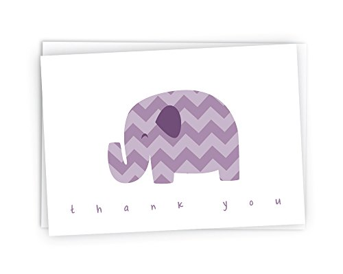 Chevron Baby Thank You Note Cards - 48 Cards & Envelopes (Purple Elephant)