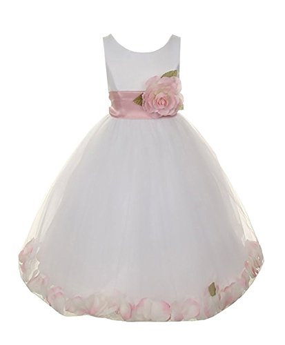 Cinderella Couture Big Girls' Satin Tulle Petal Dress White/Lt Pink 14 1170 (Dress Satin Tulle Petals White)