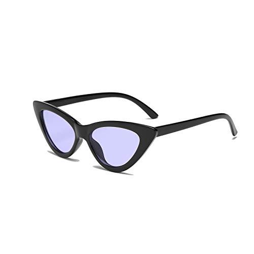 YOSHYA Retro Vintage Narrow Cat Eye Sunglasses for Women Clout Goggles Plastic Frame (Black Tinted ()
