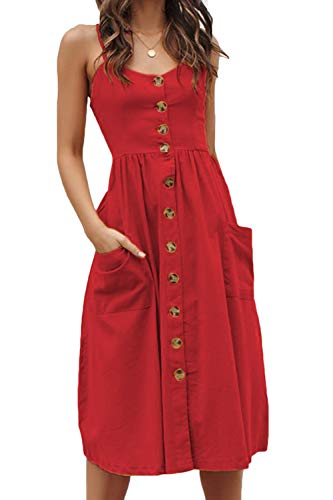 Meyeeka Backless A-line Dress for Women,V-Neck Button Down Shirred Back Swing Midi Dress