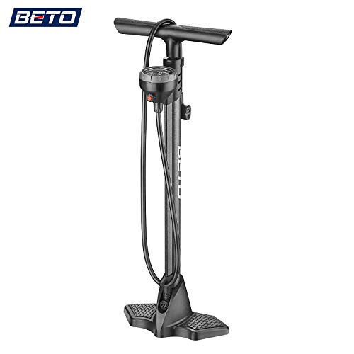 Beto Bike Bicycle Floor Pump with Industrial Level Top-Mounted Gauge& Air Bleed Button -Presta Schrader Dunlop Valve Universal, Steel Tube 160 Psi Max