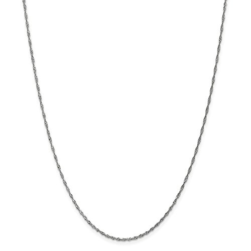 14k Gold Solid Diamond-Cut Singapore Chain Necklace with Spring Ring (1.5mm) - White-Gold, 14 in