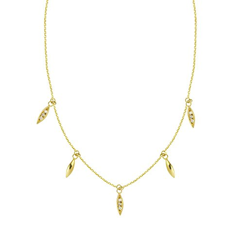 14k Yellow Gold 0.10 Dwt Diamond 5pc Dangle Marque Stations Adjustable Necklace - 18 Inch