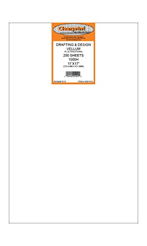Clearprint 1000H Design Vellum Sheets, 16 Lb., 100% Cotton, 11 x 17 Inches, 250 Sheets Per Pack, 1 Each (10201616) by Clearprint (Image #2)