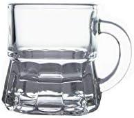 HomeTake – Juego de 6 Vasos de Mini Jarra de Licor de Cristal con Mango chupitos Ron Vodka de Pino
