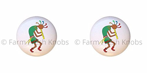 SET OF 2 KNOBS - Kokopelli Design #008 - Kokopelli Flute God - DECORATIVE Glossy CERAMIC Cupboard Cabinet PULLS Dresser Drawer (Kokopelli Cabinet Knob)