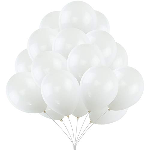 KUMEED White Latex Balloons Globos Party Birthday Wedding Balloons Pack of 100 ()