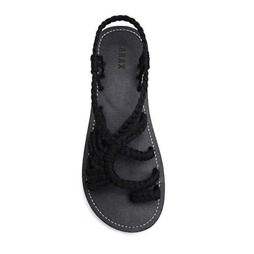 EAST LANDER Flat Sandals for Women Braided Strap Beach Shoes ZD002-W1-9 Black
