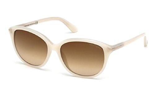 Tom Ford Sunglasses - Karmen / Frame: Opalescent White Lens: Brown - White Tom Sunglasses Ford