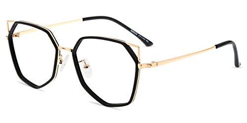 Firmoo Cat Eye Blue Light Blocking Glasses Women, Anti Eye Strain Anti Glare Black Gold Computer Glasses for Digital Screens with UV Protection