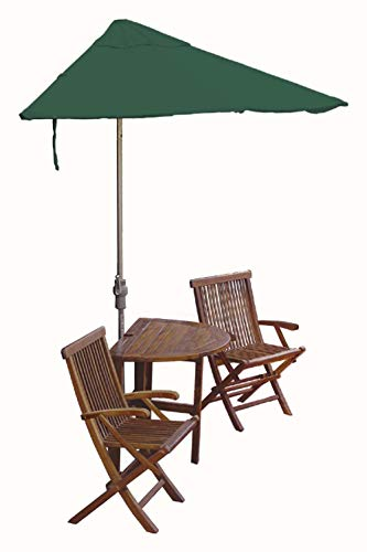 (Blue Star Group Terrace Mates Bistro Premium Table Set w/ 9'-Wide OFF-THE-WALL BRELLA - Green SolarVista Canopy)
