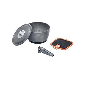 Esbit 2.35 Liter Camping Cook Pot with Heat Exchanger, Lid, Hot Pad, Pot Gripper and Storage Bag