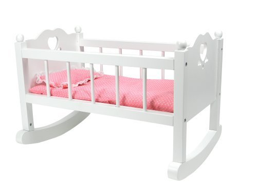 White Baby Doll Cradle Furniture by Sophia's, Open Sides & Heart Cutout Design Plus Doll Bedding Set, Fits American Girl Bitty Baby Dolls and More! Perfect Baby Doll Crib/ ()