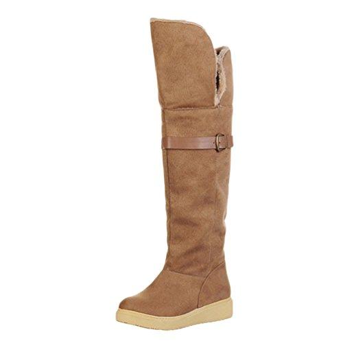 Piane Boots Marrone Neve Cavaliere Inverno Lunghi Inferiore Spessore Luce Yiiquan Da Stivaletti Stivali Donna ztwOWY