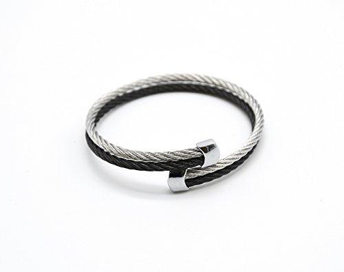 BC609 - Bracelet Double Jonc Torsadé Acier Bicolore avec Embouts Argenté - Mode Fantaisie