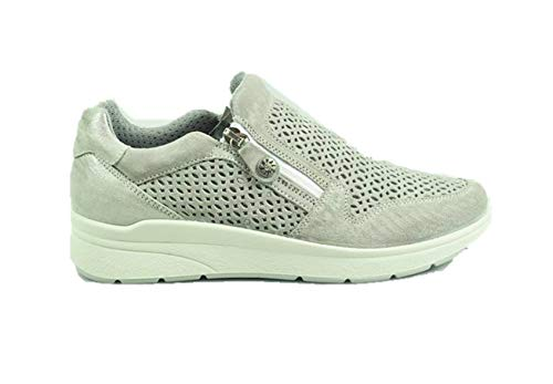 3266633 Enval Donna Slip Grigio Sneakers Soft Pelle On Zip Mocassini RUqTHWfUZ