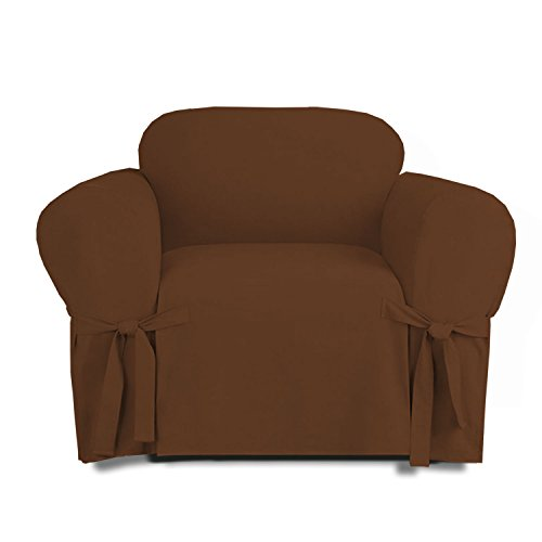 Linen Store Microsuede Slipcover Furniture Protector Cover, Brown, Chair (Chair And Couch Covers)