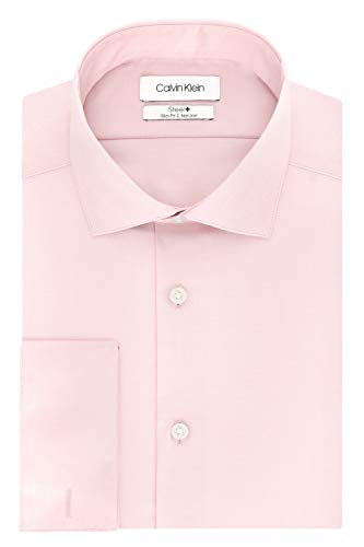 Calvin Klein Men's Non Iron Slim Fit French Cuff Dress Shirt, Pink, 16.5