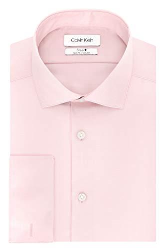 (Calvin Klein Men's Non Iron Slim Fit French Cuff Dress Shirt, Pink, 16.5