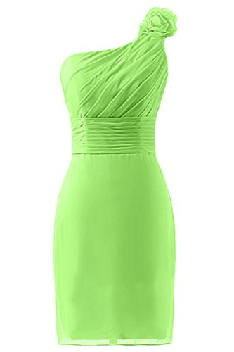 sunvary vaina One-Shoulder Flores ruches vestidos de damas de honor Light Lime