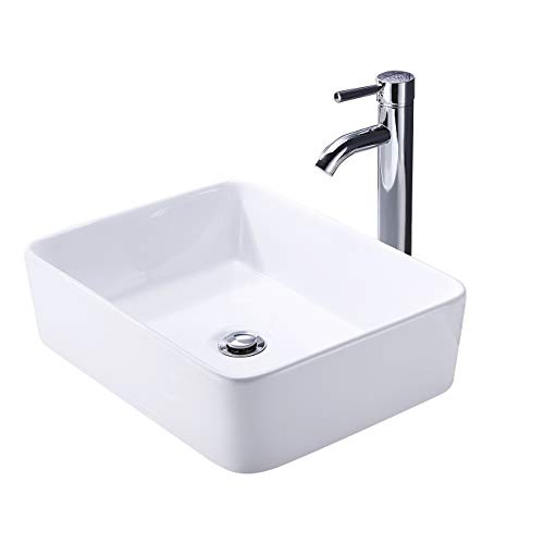 KES Bathroom Vessel Sink and Faucet Combo Bathroom Rectangular White Ceramic Porcelain Counter Top Vanity Bowl Sink Chrome Faucet, BVS110-C1