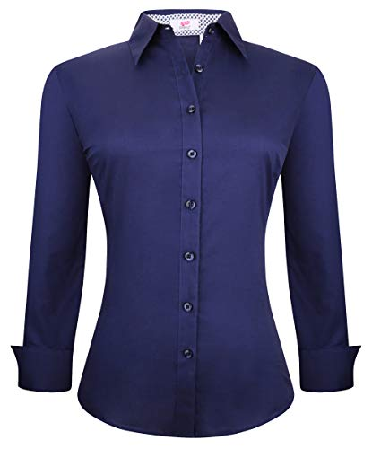 Esabel.C Womens Button Down Shirts Long Sleeve Regular Fit Cotton Stretch Work Blouse Navy Blue S