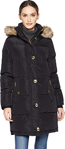 MICHAEL Michael Kors Women's Button Front Down Coat Faux Fur Trim Hood M823896G Black Large (Button Fur Jacket Front)