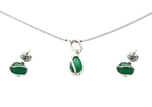 Deoro Joyeria Emerald Jewelry Set: Natural Genuine Raw Stud Earrings Pendant Necklace Jewelry May Birthstone Green, Sterling Silver 925 Womens 45cm Model 72952, 72953