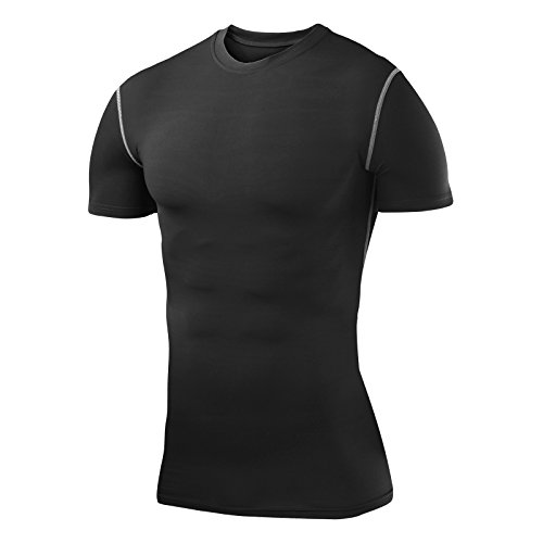 Herren Kind PowerLayer Funktionsunterwäsche Kompressionsshirt Kurzärmelig Armour Compression Top Skins Kurzarm - X Large - Black