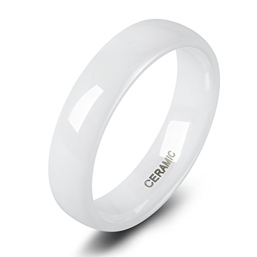 Ceramic Ring (6mm White Ceramic Rings for Men Women Comfort Fit Engagement Wedding Band (9))