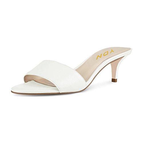YDN Women Comfy Kitten Low Heel Mules Slip on Clog Sandals Open Toe Dress Pumps Slide Shoes White 8 (5cm) (Kitten Mule)