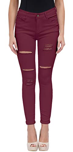 Women's Casual Ripped Holes Skinny Jeans Jeggings Straight Fit Denim Pants (US 12, Red 15)