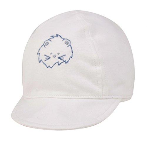 (Unisex Infant Indoor/Outdoor LightWeight Baby Soft 100% Cotton Cap - White (3-6 Months))