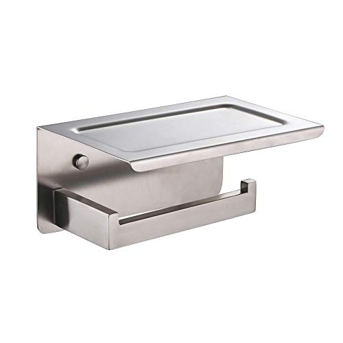 XVL Toilet tissue paper holder with mobile phone storage shelf, Nickel Brushed, G318A