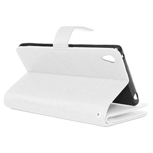 UBMSA-Neue Luxus-Leder-Mappen-Schlag-Standplatz-Fall-Abdeckung Taschen and Schalen f¨¹r Sony Mobile Xperia M4 Aqua [Eingebaute 9 Kreditkarten Slots]