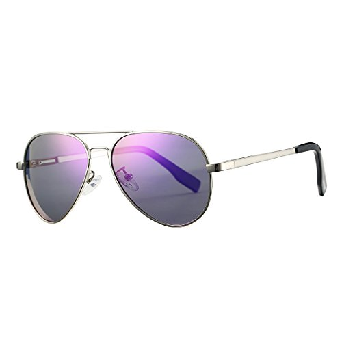 Polarized Aviator Sunglasses for Juniors Small Face Women Men Vintage UV400 Protection Shades(Silver Frame/Purple Mirrored Lens) (Face Purple)