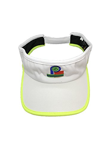 Adjustable Performance Visor - Pickleball Fashion Visor - Classic Headwear -Moisture-Wicking White w/Neon Trim. A high Performance Visor. New/Embroidered - Adjustable