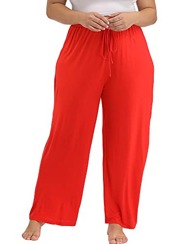 Orange Womens Sleep Pant - Allegrace Women's Plus Size Comfy Stretch Long Pajama Pants Drawstring Sleep Lounge Pants Orange-Red-A 1X