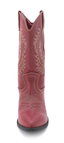 WAMBLEE Calf Cowboy Mid Pointed Womens Toe Red Boots Rampage RAw54q