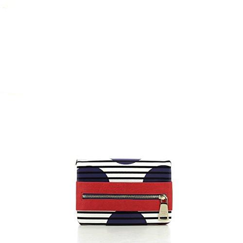 Pochette con tracolla Patrizia Pepe con maxi zip - White / Blue Stripes