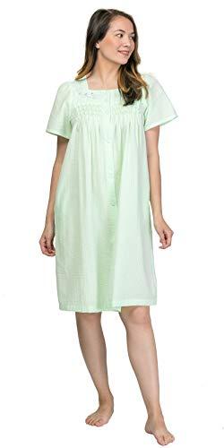 Miss Elaine Seersucker Robe - Short Snap Front Robe in Mint Green (Mint Green, X-Large)