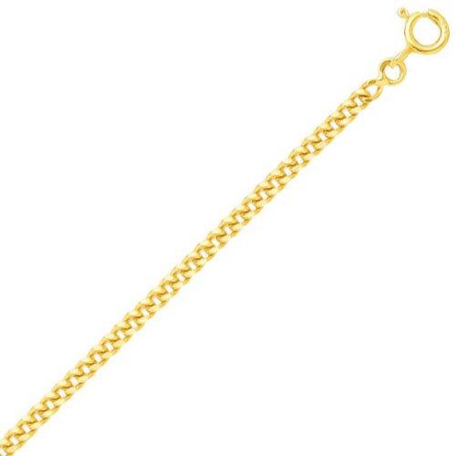 So Chic Bijoux © Chaîne Collier Longueur 60 cm Maille Gourmette Diamantée 2,2 mm Or Jaune 750/000 (18 carats)