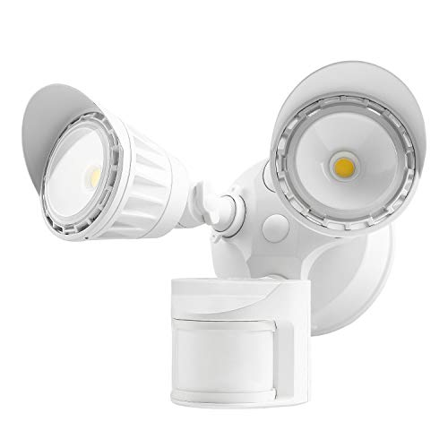 LEONLITE Dual-Head Motion-Activated LED Outdoor Security Light, Waterproof, Photocell Included, Newly Added DIM Mode, 5000K Daylight, 25W (200W Halogen Eqv.) Area Lighting for Yard, Garage, White