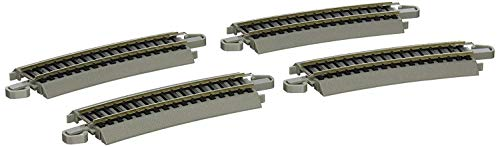 Bachmann Trains - Snap-Fit E-Z TRACK HALF SECTION 18 RADIUS CURVED (4/card) - NICKEL SILVER Rail With Gray Roadbed - HO Scale