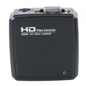 HD2V04 HDMI to VGA + Audio HD Video Converter Black