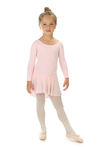 Elowel Girls' Ruffle Long Sleeve Skirted Leotard Baby Pink (size-2-4 )