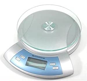 Round Glass-top Electronic Kitchen Scale by Starfrit. Kitchen Timer and Temperature Indicator Blue Back Lit Screen