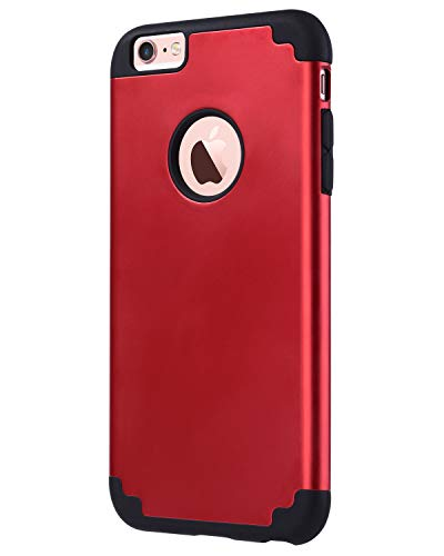 ULAK Slim Protective Case for iPhone 6 Plus, iPhone 6S Plus Hybrid Soft Silicone Hard Back Cover Anti Scratch Bumper Case (Red) (Metallic Red Iphone 6 Plus Case)