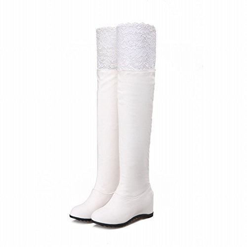 Carolbar Women's Solid Color Sexy Wedge Hidden Heel Lace Dress Boots White q7yTI
