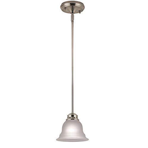 (Project Source Fallsbrook 6.89-in Brushed Nickel Single Etched Glass Bell Mini Pendant Light)